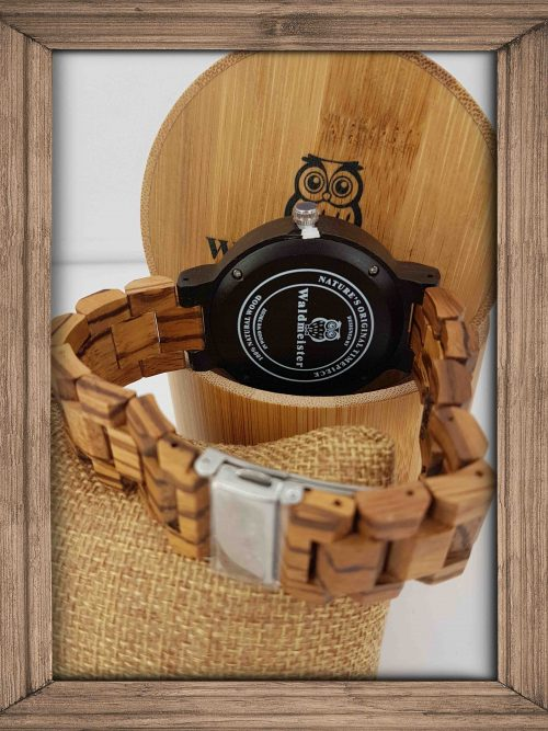 Zebrano Holzuhr mit Holzarmband