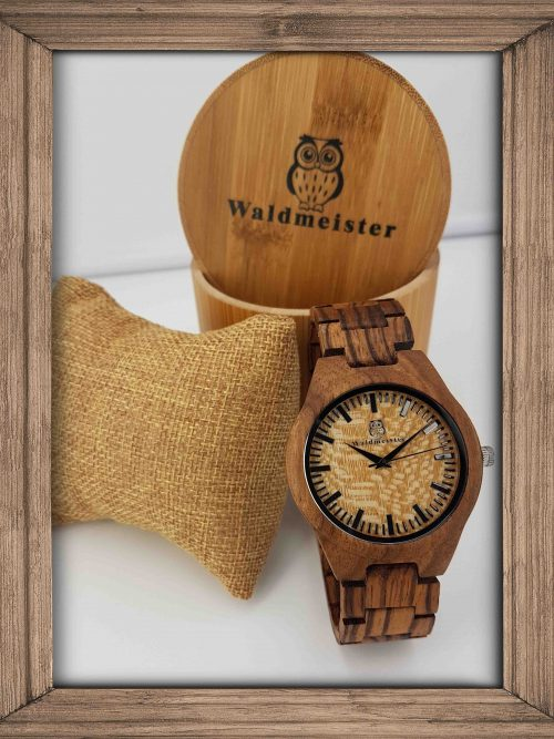 Holzuhr Zebrano mit Holzbox
