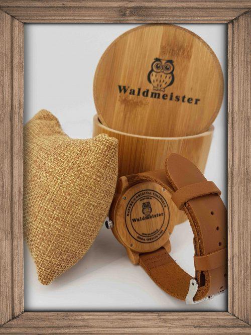 elegante Bambusholzuhr mit Ziffern - Holzuhr
