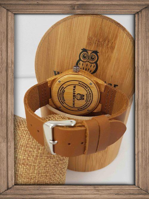 grosse Bambus Uhr mit Ziffern rückseite