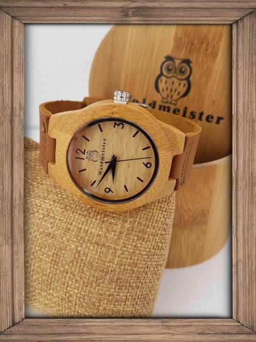 grosse Bambus Uhr mit Ziffern