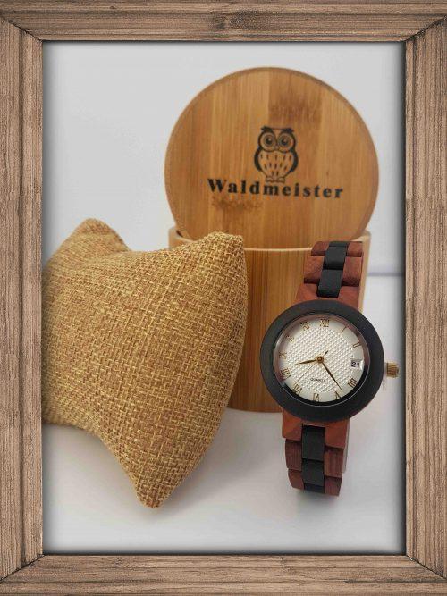 Damenuhr Holz mit rotem und schwarzem Sandelholz