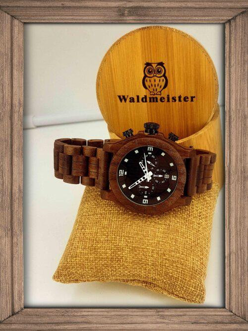Wallnussholz Herrenuhr Mann Chronometer Datum